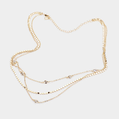 Gold Rhinestone Station Detail Triple Layered Necklace