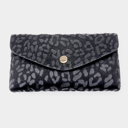 Black Leopard Print Pattern Faux Leather Wallet on Chain