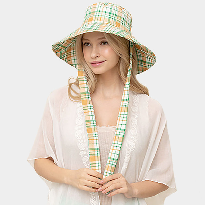 Plaid Check Floppy Bucket Hat