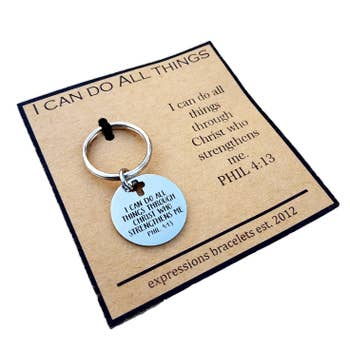 I Can Do All Things With Christ Spiritual Key Chain Zipper Charm
