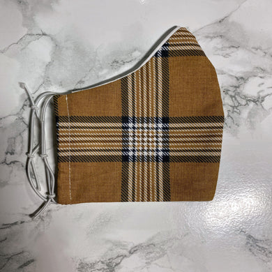 Neutral Beige and Brown Plaid   - Buffalo Face Mask