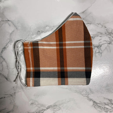 Terracotta Orange Plaid  - Buffalo Face Mask