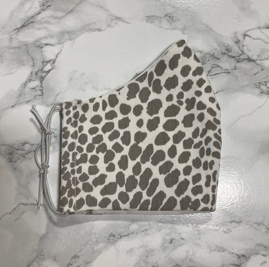 Denim White Grey Animal Print - Buffalo Face Mask