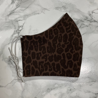 Denim Brown Black Leopard Animal Print - Buffalo Face Mask