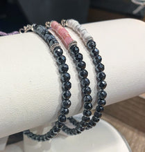 Load image into Gallery viewer, Hematite & Coral Pink Crystal Bracelet