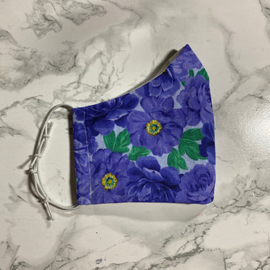 Purple Blue Floral  - Buffalo Face Mask