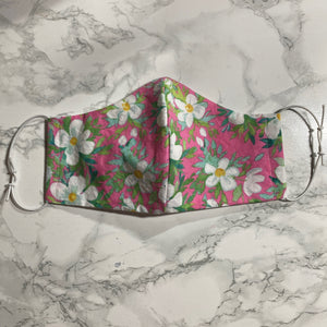 White & Pink Floral - Buffalo Face Mask