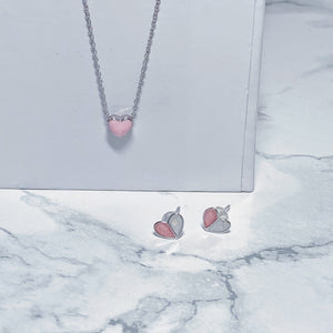 Pink Heart Necklace Set