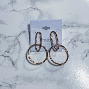 Hammered Oval Chain Link Dangle Earrings