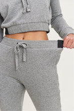 Load image into Gallery viewer, Grey Terry Cotton Skinny Joggers with Zippered Pockets
