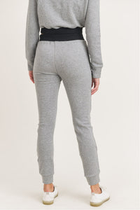 Grey Terry Cotton Skinny Joggers with Zippered Pockets