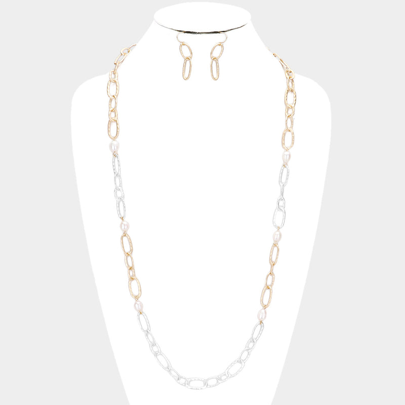 Freshwater Pearl Accented Metal Open Oval Link Long Necklace