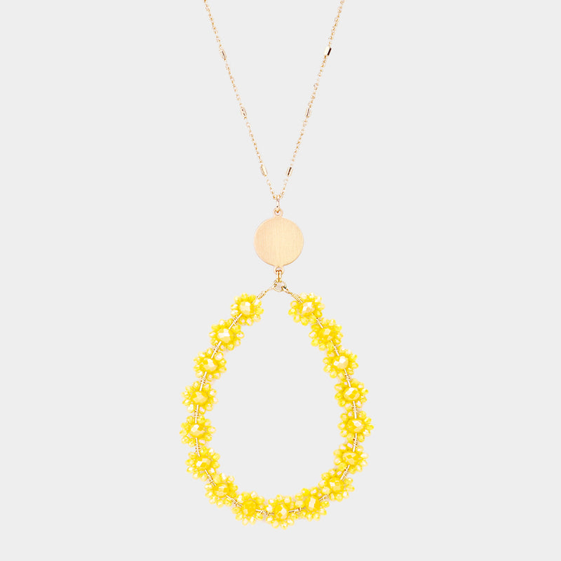 Yellow Flower Cluster Faceted Bead Necklace