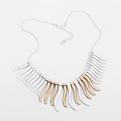 Metal Bar Fringe Gold Silver Necklace