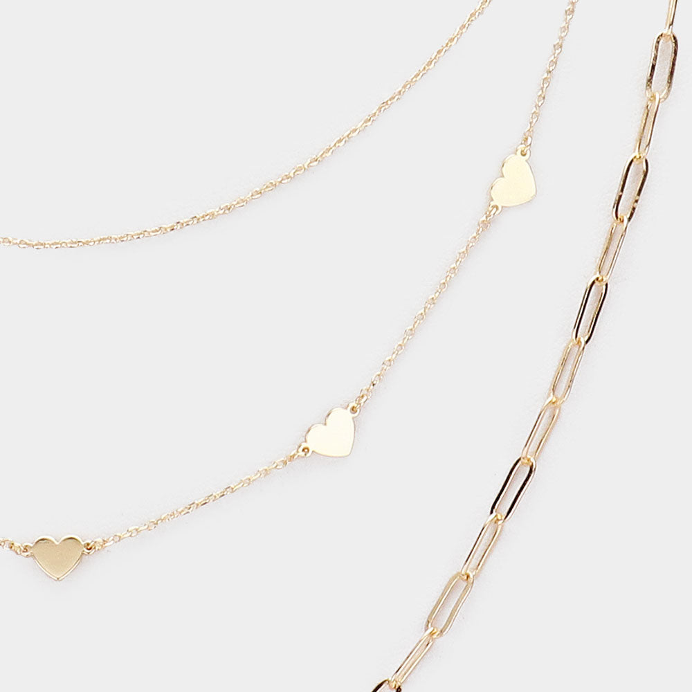 Gold Triple Layered Metal Heart Accented Layered Necklace