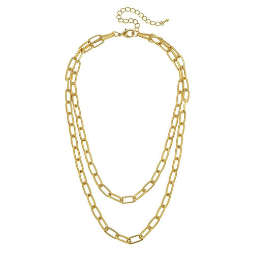 Oval Chain Link Layered Necklace