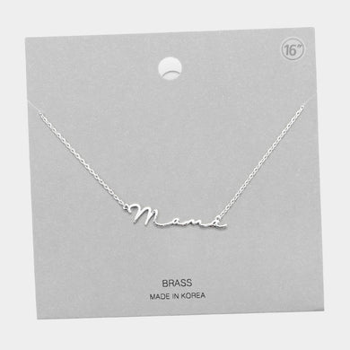 Mama Brass Pendant Necklace (Rhodium)