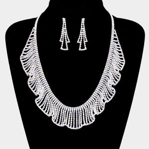 Rhinestone Crystal Bib Necklace Set