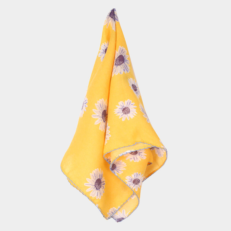 Yellow and Lavender Daisy Print Square Scarf