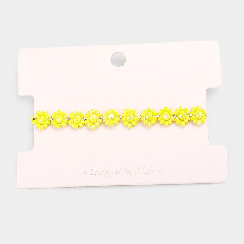 Yellow Flower Cluster Faceted Bead Bracelet