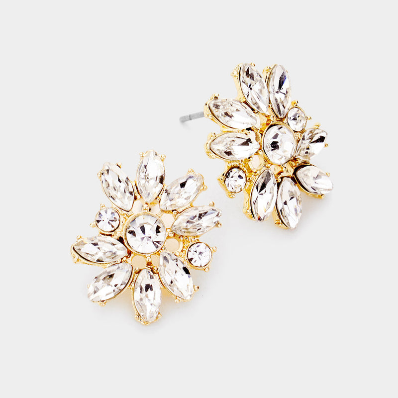 Round Marquise Stone Cluster Flower Evening Stud Earrings