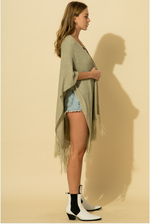 Open Front Fringe Knit Poncho in OLIVE