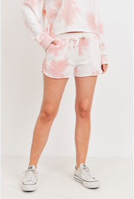 Pink Cotton Candy French Terry Tie Dye Shorts