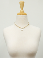 Gold Coin Pearl Chain Necklace Set