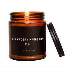 Load image into Gallery viewer, Teakwood and Mahogany Soy Candle | Amber Jar