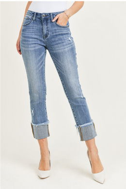 Mid Rise Raw Hem Cuffed Slim Straight Jeans