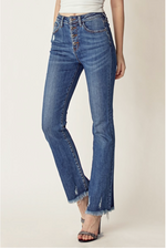 High Rise Button Fly Raw Hem Slim Straight Jeans