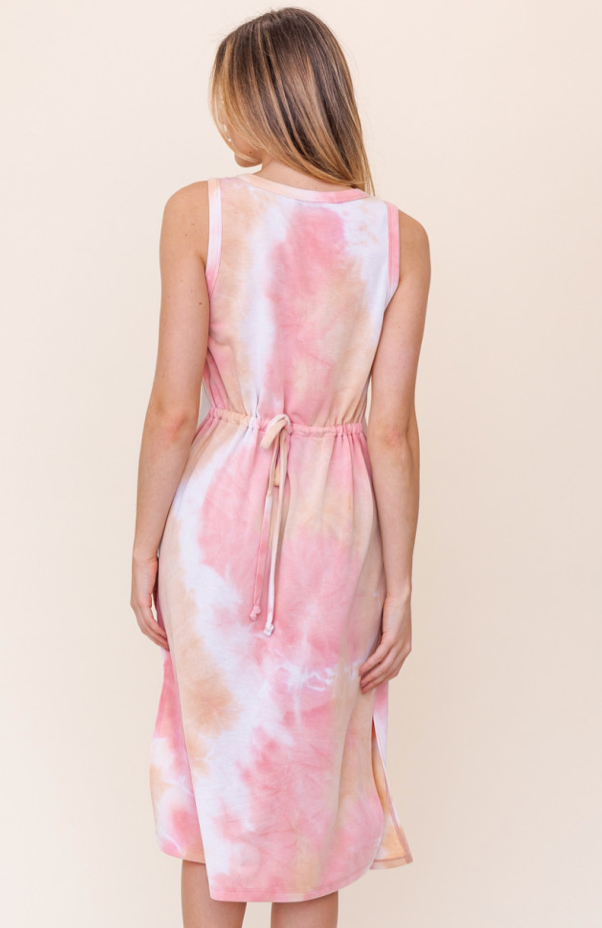 Coral Tie Dye Ruched Back Dress