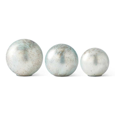 Set of 3 Aquamarine Tabletop Globes