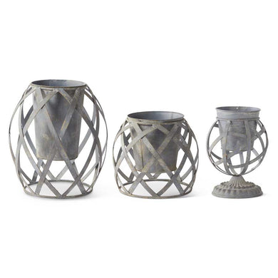 Set of 3 Woven Metal Garden Pots (Grad Sizes)