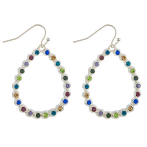 White Teardrop Multicolor Rhinestone Earrings