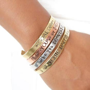 Faith Over Fear Mantra Cuff Silver Rose Gold