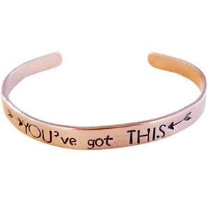 You've Got This (Arrows) Mantra Cuff  Silver (Aluminum)