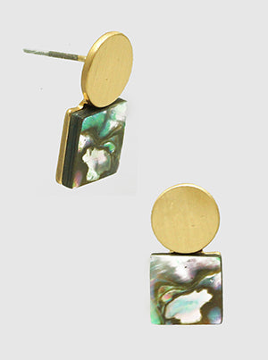 Abalone Brass Square Round Post Stud Earrings