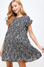 Load image into Gallery viewer, Tiered Zebra Print Dress