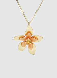 Acetate Metal Floral Flower Pendant Choker Necklace (Three colors)
