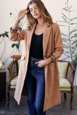 Solid Camel Long Sleeve Trench Coat with Animal Print Interior