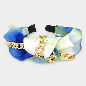 Blue Green Metal Chain Accented Knotted Tie Dye Headband
