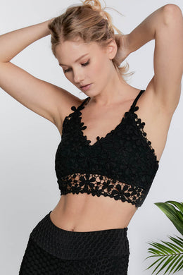 Black Floral Chrochet Bralette Top