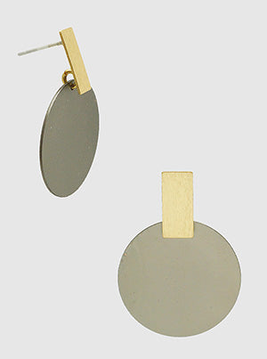 Brushed Brass Disc Rectangle Bar Dangle Drop Earrings