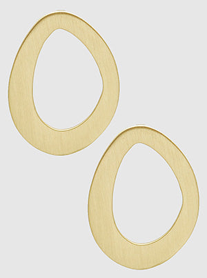 Brushed Gold Organic Shape Hollow Oval Post Stud Earrings