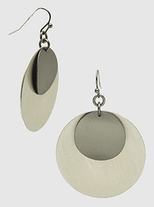 Brushed Brass Double Round Dangle Drop Earrings
