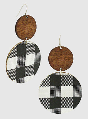 Black White Buffalo Check Plaid With Wood 2 Tier Dangle Drop Earrings