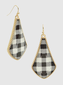 Buffalo Check Epoxy Dangle Drop Earrings