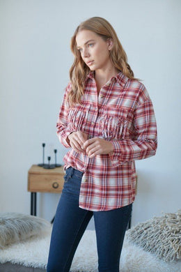 Plaid Fringed Chest Pockets Collared Shirt