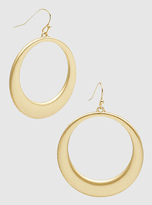 Gold Casting Hollow Round Dangle Drop Earrings